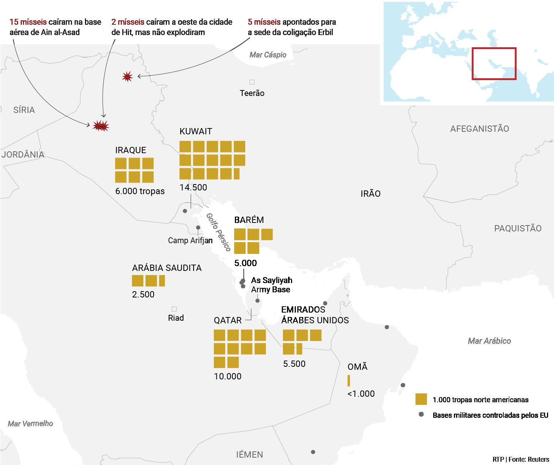 mapa dos ataques às bases dos EUA e localização das tropas norte americanas