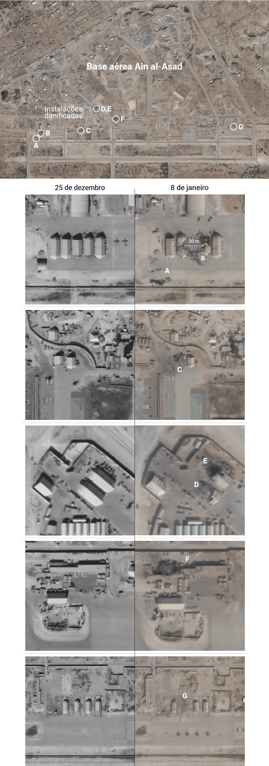imagens de satélite da base aérea norte americana bombardeada
